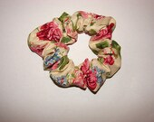 Beautiful floral roses yellow background Florals Fabric Hair Scrunchie, dressy scrunchies, womens accessories, spring gifts, birthday gift
