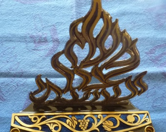 Vintage brass and enamel Chanukah Menorah flame design, made in Israel