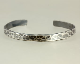Hammered Aged Sterling Silver Cuff Bracelet, Medium Bracelet, Silver Bracelet, Hammered Silver Cuff, Southwestern Bracelet, Hammered Cuff