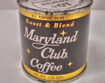 Vintage Salesman Sample Maryland Club Coffee Tin Sealed Still Full Mint  Store Give Away Item 1960s