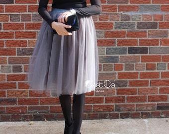Claire - Ash Gray Tulle Skirt, Soft Tulle Skirt, Tea Length Tulle Skirt, Midi Tutu, Bridesmaids Skirt, Plus Size Skirt, Wholesale