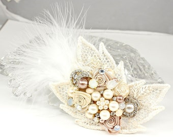 Champagne Bridal Comb- Vintage Inspired Hairpiece-Blush Hairpiece-Feather Hair Comb-Pearl Hair Comb-Floral Hairpiece-Bridal Hair Accessories