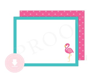 INSTANT DOWNLOAD Flamingo Note Cards (Flamingo Thank You Cards, Printable Flamingo Note Cards, Printable Note Cards, Teal Flamingo)