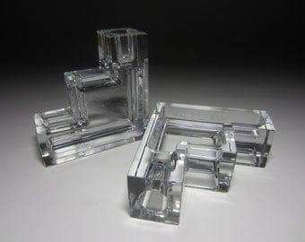 Stunning Skyscraper Minimalist Geometric Crystal Designer Candlesticks