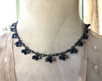 Pretty Necklace with Black and Smoky Crystal Beads
