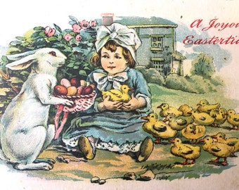 Sweet Edwardian Era Easter Postcard-Child with Bunny and Chicks