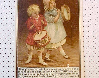 Adorable Victorian Trade Card with Children Playing Musical Instruments