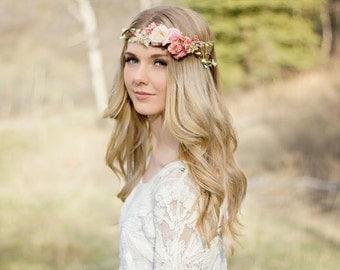 Flower Crown in Blush, Rose & Coral Pinks/ Natural Flower Halo/ Bridal Headpiece/ Boho Wedding Flower Crown/ Photo Prop