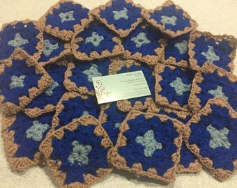 Set of 22 Blue and Brown Square Hand Crochet squares for crafts, boho, shabby chic, home decor,crafts, shabby chic, bags by MarlenesAttic