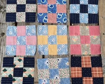 Vintage Antique Quilt Blocks - Feedsacks with older fabrics- Nine patch