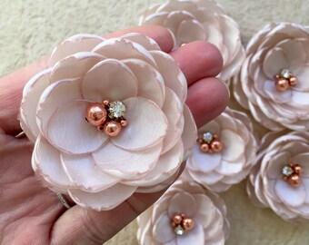 Nude rose gold silk flowers bridal hair clip grip handmade Wedding hair barrettes shoe clips bridesmaid accessories sew on dress sash flower