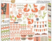 Black Fri 60% Off Foxy Printable Planner Stickers Kit, 4 PDFs, EC or Happy Planner, Washi,  Icons, ADORABLE Clip Art Perfect for for Clips!