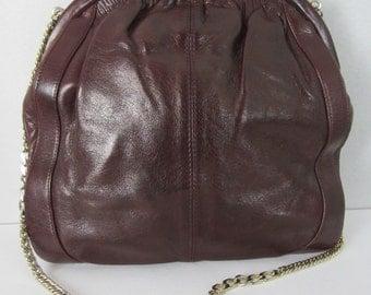 Vintage POURCHET Burgundy Leather Handbag Shoulder Bag Lucite Hardware Made in France Gold Tone Chain Strap Retro Accessory