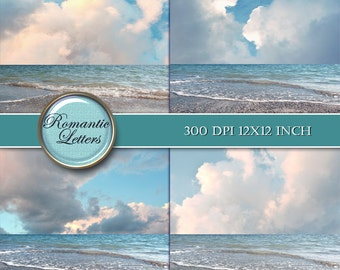 Sea beach digital photo backdrop ocean digital background beach wedding photography digital photoshop background sky clouds backdrop
