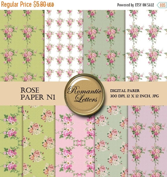 SALE-50% Digital Scrapbook Paper  Pack - ROSE Digital Scrapbooking Floral  background roses 12x12 flowers
