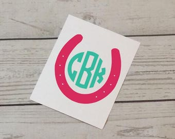 Monogram Horseshoe Decal - Initial Decal - Farm Girl Horse Decal - Horseback Riding - Horse Lover - Car Decal - Laptop Decal
