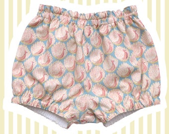 Liberty Print Mini Bloomers   Bubble Shorts for Baby   Pink Peacocks