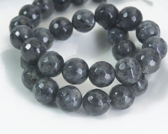 black labradorite faceted round beads, black gemstone beads for jewelry ,  4-12mm faceted gemstone beads,  round faceted beads , 15 inch