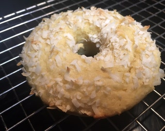 12 Vanilla Coconut Doughnuts with Coconut Crunch Topping ( Low Carb, Sugar Free, Gluten Free, Grain Free)