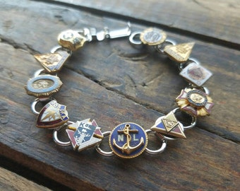 Vintage Enamel Service Union Military Group Pins Bracelet Jewelry Colorful & Fun Unique One Of a Kind OOAK Upcycled