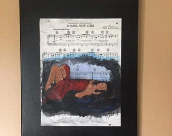 "Contemporary figurative artwork on sheet music  by Parrish Monk   ""Thank you Girl"""