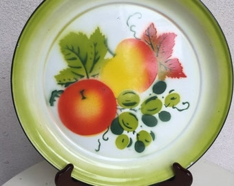 """SALE Vintage small tray round 12"""" greens fruits theme cottage chic"""