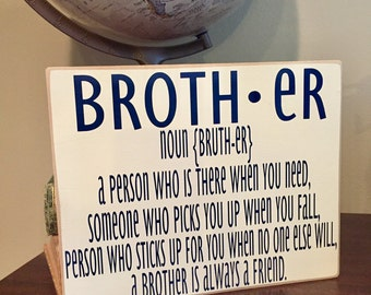 Definition of Brother Vinyl Lettering Board Brother Son Gifts