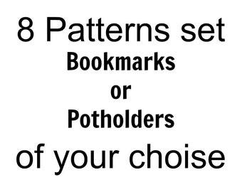 8 bookmarks or potholders of your choice set Amigurumi Crochet Patterns - 8 Pdf files by Zabelina Etsy