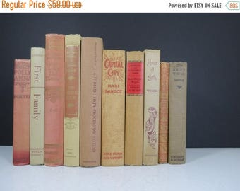 SPRING SALE Rustic Book Collection // Vintage Red, Tan, and Brown Hardcover Books Decorative Book Set Library Wedding Decor Photography Prop