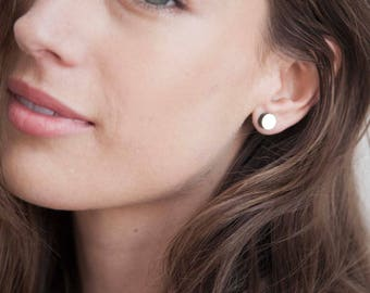 Gold Dot Stud Earrings Nail Head, Small Geometric Post Earrings,  Small Round Gold Studs,  Aritisan Handmade by Sheri Beryl Stud Earrings