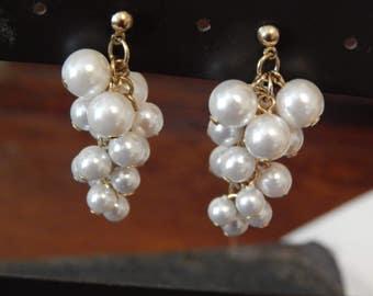 Vintage pearl earrings, cluster of pearls