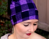 Messy Bun hat - Messy bun beanie - Messy hair hat - Pony tail hat - Winter Hat - Plaid - Christmas Gift - Trendy  -Stocking Stuffer