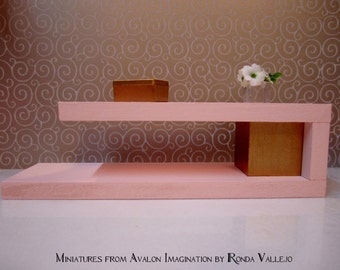1/6th Scale Miniature Dollhouse Modern Coffee Table in pastel pink and gold for Barbie, Blythe, and other fashion dolls Barbie furniture