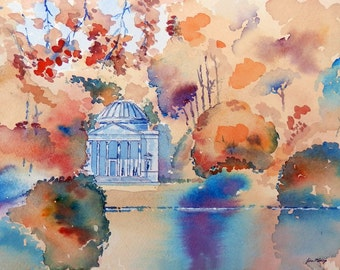 The Pantheon Stourhead Wiltshire , print from an original line & wash watercolour painting by John Menage size A3 or A4