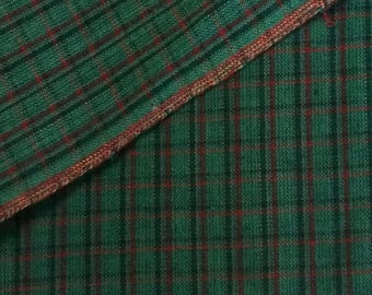 Cotton Fabric / Homespun Cotton Fabric / Woven Cotton Fabric / Green Woven Cotton Fabric / Christmas Fabric