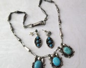 Mexican Sterling Turquoise Necklace Earrings Set 925 Silver Mexico Marked Pierced Dangle Boho Vintage Mexican Jewelry