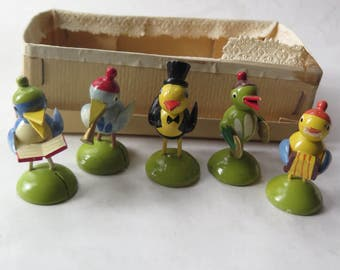 German Erzgebirge Birds Musicians Place Card Holders Easter Decor Set of Five Handpainted Wooden Marked Made in Germany Top Hat Hildesheim