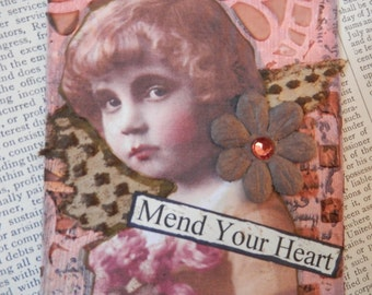 "ACEO ATC one-of-a-kind Original ""Mend Your Heart"" Artist Trading Card"