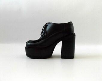 platform oxford shoes | vintage 90s black leather chunky heel ladies size 5 1/2 grunge club kid dress top punk rocker blouse 1990s vaporwave