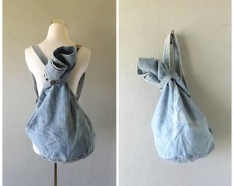 slouchy denim backpack purse | vintage 90s grunge tote bag cotton blue jean bag overnight tote hippie boho handbag festival bag 1990s hippy