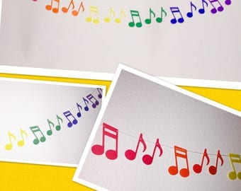 Music Note garland, baby shower garland, paper Music Note garland,  paper garland, birthday garland, Rainbow music note garland