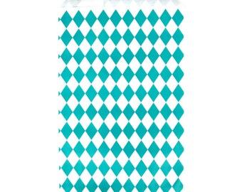 Teal Diamond Pattern Paper Bags