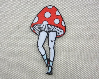 Iron-on Patch, Mushroom Patch, Embroidered Patch for Jeans, Backpack