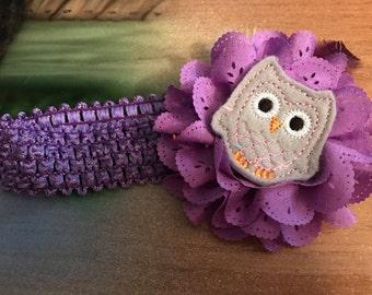 Headband purple owl baby toddler youth