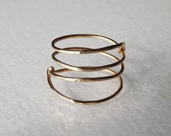 ON SALE Hammered Gold Filled Spring Ring - Gold Ring - Wrap Ring - Stacking Rings