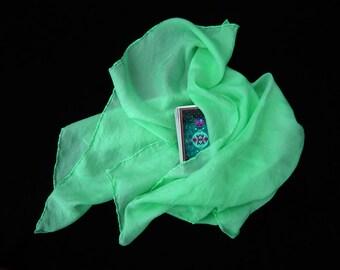 """Mint Tarot Cloth - Altar Cloth - Hand Dyed 20""""x20""""...100% Silk"""