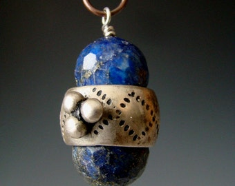 Antique silver Ethiopian ring necklace with lapiz lazuli and fine silver leaf dangle