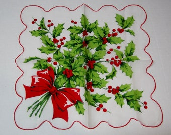 Vintage Christmas Hankie Stunning Bouquet of Holly & Berries w Red Bow 14 x 13