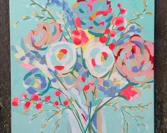 Floral still life painting, floral art, wall art, home decor, bouquet, acrylic painting, floral abstract