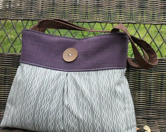 Pleated Grey and Plum Handbag Purse Tote with Wooden Button